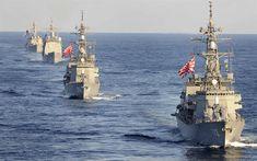 Download wallpapers JS Makinami, DD-112, JS Inazuma, DD-105, squadron, warships, Japanese Marine Self-Defense Forces, US Navy, destroyers, frigates, Japanese Navy