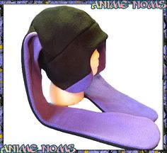 LongEar Purple Aviator Bunny Hat  Fleece Black Anime by AnimeNoms, $24.99