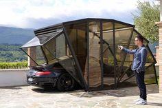 aménagement garage moderne en forme de gazébo et revêtement de sol en pierre naturelle