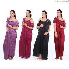 Ladies nightie designer 2 pc nightdress satin long chemise womens nightwear  set 7aae083de