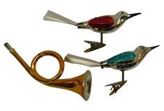 Horn & Bird Christmas Ornaments, S/3