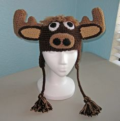 Moose Crochet Hat Pattern - Child's. I made a reindeer for my Grandkid's. They now need a Moose.