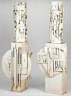 Louise Nevelson.  Love the creative, inventive assemblages that turn ordinary bits of wood trim and odd pieces into captivating works of art!