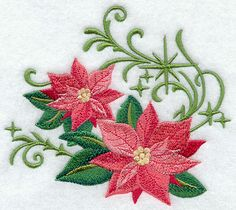 Christmas Poinsettias with Echoes design (G6237) from www.Emblibrary.com