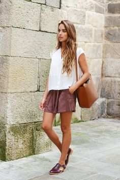 flowy shorts / white shirt
