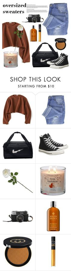 """oversized sweaters"" by mayabradleyyyy on Polyvore featuring Uniqlo, Taya, NIKE, Converse, Molton Brown, Gucci, NARS Cosmetics and casualoutfit"