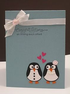 Cute little penguins card (from owl punch, I think). Card Making Inspiration, Making Ideas, Owl Punch Cards, Owl Card, Scrapbook Cards, Scrapbooking, Winter Cards, Valentine Day Cards, Anniversary Cards