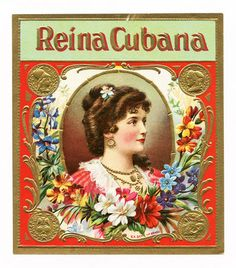1920s Cuba Reina Cubana Cuban Cigar Label