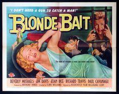 BLONDE BAIT (1956) Original half sheet size, 22x28 movie poster.