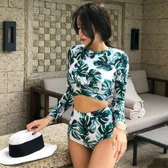 Wetsuit Long Sleeve Swim Suit Swimsuit Plus Size Rushguard Women For Surfing Clothing Surf Bikini Set Sexy New Print Viscose Trendy Swimwear, Cute Swimsuits, Women Swimsuits, Luxury Swimwear, Bikini Surf, Bikini Swimwear, Tight Swimsuit, Black Swimsuit, Cute Bathing Suits