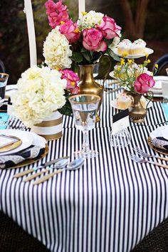Black and White Pin Stripes table runners