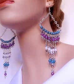 Large chandelier earrings  blue / white / purple  by NezDesigns, $18.00