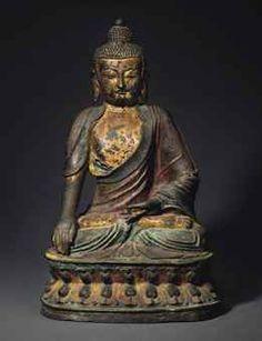 明 銅鎏金彩繪佛坐像