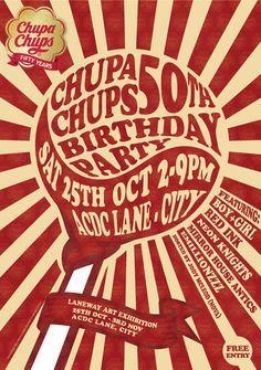 Chupa Chups Birthday poster, very Tunnocks Teacake. Vintage Advertisements, Vintage Ads, Vintage Posters, Propaganda Art, Typo Logo, Retro Design, Layout Design, Graphic Design Inspiration, Typography Inspiration