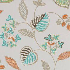 Orange / Turquoise - 110042 - Samara - Anoushka - Harlequin Wallpaper