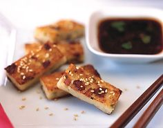 Golden Crisp Daikon Cake with Spicy Herb Soy Sauce -- one of my favorite varieties of dim sum