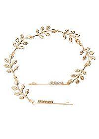 Rhinestone & Leaf Bobby Pin Hair Chain