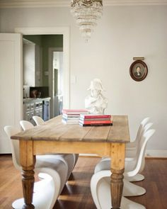 Pine farmhouse table with Panton chairs
