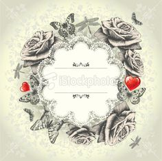 Glamorous lace frame with blooming roses, flying butterflies, red heart. Royalty Free Stock Vector Art Illustration