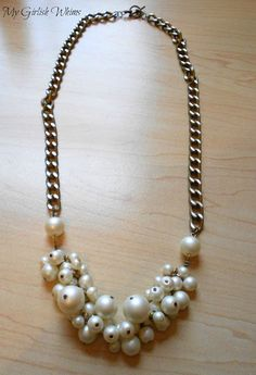 My Girlish Whims: DIY Pearl Cluster Chain Necklace