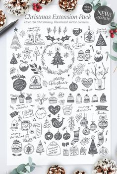 (Ad) Poppit & Finch Fonts & Illustrations by Nicky Laatz - Get a script & serif font combination + tons of illustrations, including all those Christmas ones + forest-inspired illustrations, animals and more! Christmas Doodles, Noel Christmas, Christmas Crafts, Bullet Journal, Christmas Illustration, Logo Templates, Doodle Art, Logo Design, Web Design