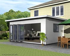 home extensions - home extension idea Flat-pack extension, SIPS Home Extension Flat Pack Extensions, Prefab Extensions, House Extensions, Kitchen Extensions, House Extension Plans, Rear Extension, Extension Ideas, Flat Pack Homes, Conservatory Extension