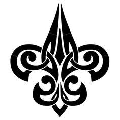 Tribal Fleur De Lis - Black - Pool Mosaic