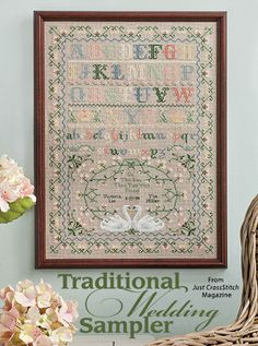 Traditional Wedding Sampler from the May/Jun 2016 issue of Just CrossStitch Magazine. Order a digital copy here: https://www.anniescatalog.com/detail.html?prod_id=131294