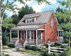 Plan W55093BR: Narrow Lot, Vacation, Cottage, Country House Plans & Home Designs
