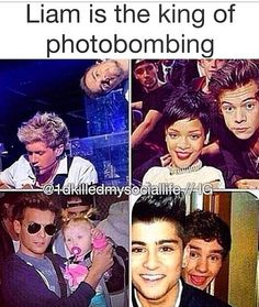 He literally is. But the second one Niall looks like he's the photoboming