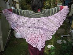 This heart-shaped shawl is named in memory of my mother, Ruth White, whose maiden name was Ruth Elisabeth Ruggles. It is created by using a typical triangular shawl construction, with a feminine lace edging knitted directly onto the main body of the shawl. The suggested materials created the shawl in the photo, however the pattern is designed to be knit with any weight/gauge of yarn and any needle size to whatever measurements you desire. The pattern includes row-by-row written instructi...