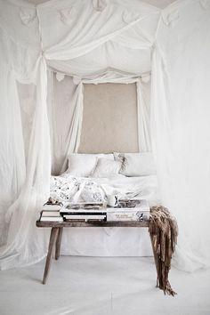 all white canopy   beautiful and feminine bedroom interior.