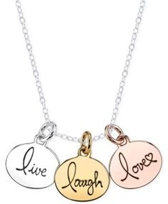 Inspirational Tri-Tone Live, Laugh, Love Pendant Necklace in Sterling Silver