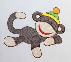 Sock Monkey Quilt Squares Fabric Embroidery by WingsicalWhims, $30.00
