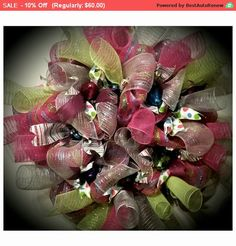 SALE - Whimsical Pink, Lime and Turquoise Deco Poly Mesh Wreath Easter Spring