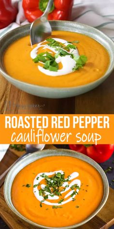 Picnic Ideas Discover Roasted Red Pepper Cauliflower Soup This Roasted Red Pepper Cauliflower Soup is a simple recipe thats packed with freshly roasted red peppers and cauliflower! Its healthy vegan and can be made from scratch in under an hour! Easy Soup Recipes, Vegetarian Recipes, Cooking Recipes, Healthy Recipes, Healthy Fall Soups, Recipes Dinner, Vegetarian Cooking, Heathy Soup, Blended Soup Recipes