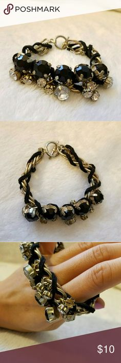 """Chain & Ribbon Jeweled Link Bracelet In fair condition. Missing one bead (as shown).   Bracelet length is 8.5"""". Jewelry Bracelets"""