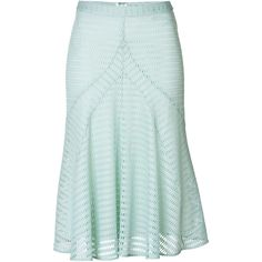 Derek Lam Mesh Flared Midi-Skirt ($265) ❤ liked on Polyvore featuring skirts, turquoise, green skirt, flared hem skirt, flared skirt, derek lam skirt en calf length skirts