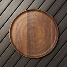 Wood grain melamine plates   Crate and Barrel