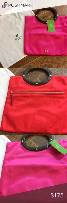 ⚡️Sunday Sale⚡️Kate Spade Rare Jocelyn Pink/Red Stunning  Rare NWT Kate Spade Jocelyn pink/red bag. Pink on one side of bag, red on reverse side. Zipper opening, with floral inside design. Tag price$225.00. Dust bag has minor snags (see pics), otherwise actual handbag is in great Condition! 10 3/4 inches wide, 9 1/2 inches tall. Fast Shipping! kate spade Bags