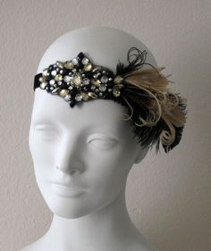 Party Girl Flapper Feather Headband Black And Champagne. $42.00, via Etsy.