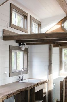 Rewild Homes designs and builds this beautiful tiny house on wheels. It's a gorgeous and elegant design that still doesn't sacrifice functionality for style.