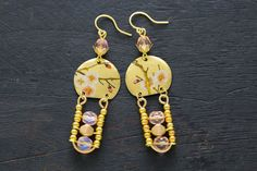 Gold and Pink Cherry Blossom Earrings Ladder by MusingTreeStudios