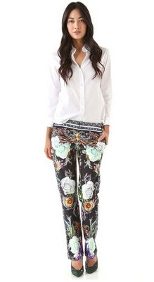 {Clover Canyon Baroque Rose Scarf Pants}