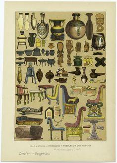Image Title:  Edad antigua -- utensilios y muebles de los Egipcios. Creator: Hottenroth, Friedrich, b. 1840 -- Artist Published Date: 1894
