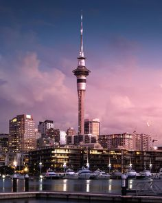 Auckland City captured at the most colourful time of day 💜 . New Zealand North, Auckland New Zealand, New Zealand Travel, New Zealand Houses, Beautiful Sunset, Travel Inspiration, Scenery, Places To Visit, Tower