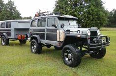 1955 Wagon and Trailer Jeep Pickup, Jeep Truck, Custom Trucks, Cool Trucks, Pickup Trucks, Truck Camping, Jeep Willys, Willys Wagon, Jeep Wagoneer
