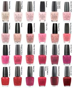 OPI polish color options  Strawberry Margarita is my fave!