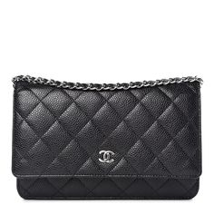 7a7626bc355798 CHANEL Caviar Quilted Wallet On Chain WOC Black 345322 Chanel Caviar,  Diamond Quilt, Timeless