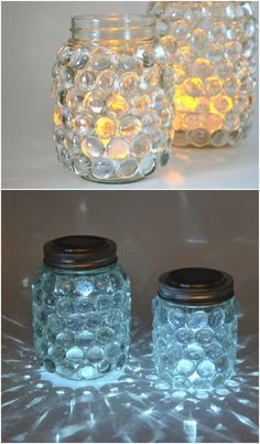 These solar mason jar luminaries are super easy to make and pretty to boot! Just use simple supplies from the craft store.